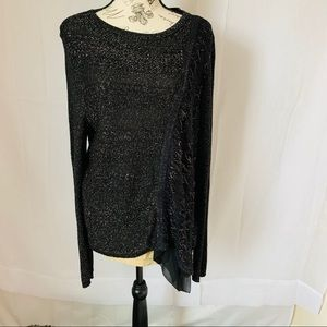 Chico's black/silver glitter sweater size 2